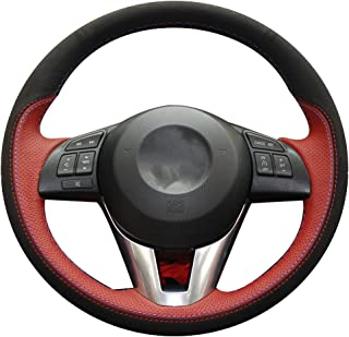 XuJi Hand Sewing Black Suede Genuine Leather Car Steering Wheel Cover for Mazda 3 Axela 2013-2016 / Mazda 6 Atenza 2014-2017 / Mazda 2 2015-2017 / CX-3 CX3 2016-2017 / CX-5 CX(Red Leather+Black Suede)