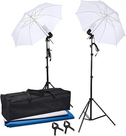 AW Photo Studio 33 5500K 2X Diffuser Umbrella+Golden Reflector Umbrella+3X Bulbs+Green Black White Backdrop 10ft Stand