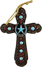 Pine Ridge Ornament Cross Turquoise Star Centerpiece Religious Rustic Hanging Home Decor - Rustic Religious Christian Decorative Wall Cross - Vintage Inspired Christmas Decor (4