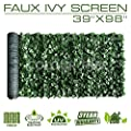 "Artificial Hedges Faux Ivy Leaves Fence Privacy Screen Panels ?Decorative Trellis - 39"" x 98"""