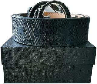 Gold/Silver/Black Buckle Black Leather Unisex Fashion Belt for Men or Women Pants Jeans Shorts ~ 3.8cm Belt Width