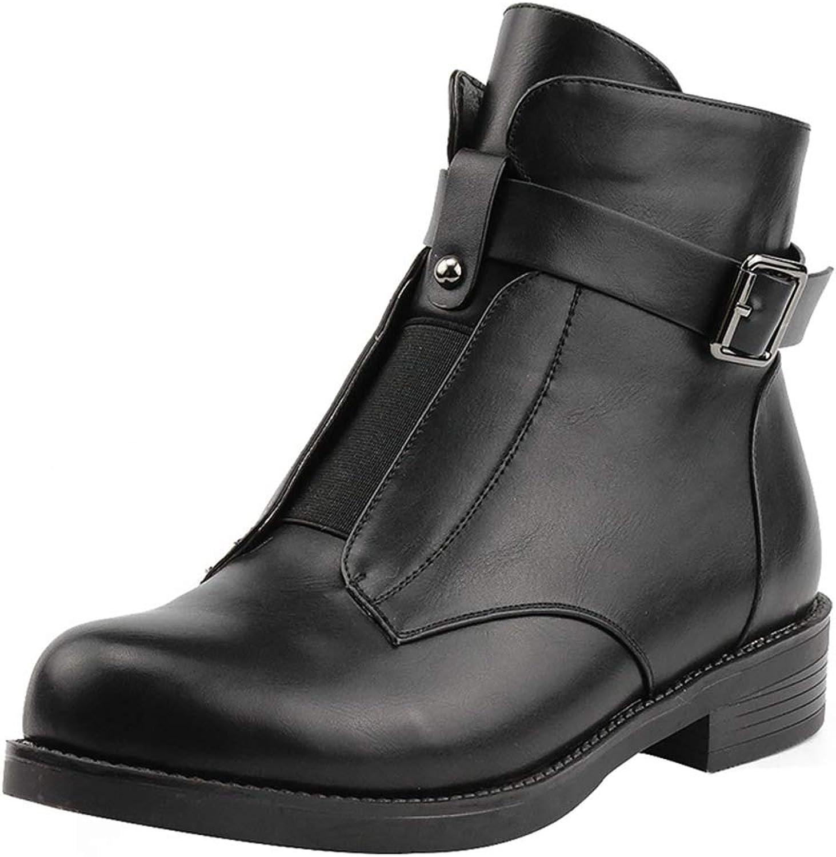 SaraIris Women's Block Low Heel Leather Buckle Strap Side Zipper Ankle Booties