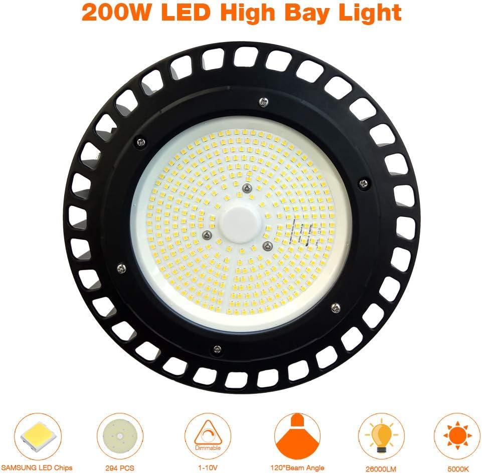 150W UFO High Bay LIFUD Driver 1-10V Dimmable 19,500Lm 600W HID//HPS Equivalent Adiding LED High Bay Light 5000K Daylight for Garage Workshop Warehouse,ETL DLC Listed