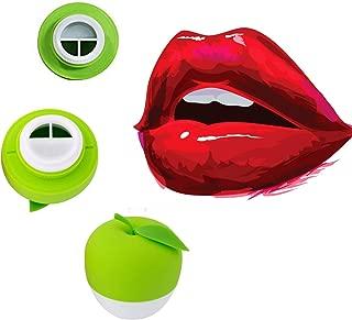 MQUPIN Lip Plumper Device Enhancer Hot Sexy Mouth Beauty Lip Pump Enhancement Pump Device Quick Lip Plumper Enhancer Lip Trainer for Women Gilrs +2pcs GEL Mouth Cover (Green (Double-Lobed))