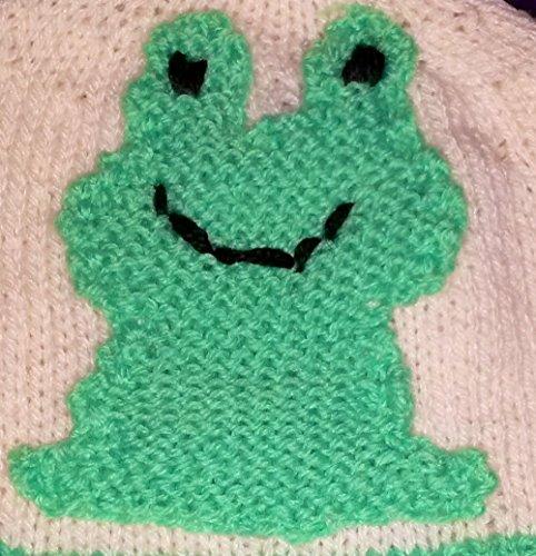 Frosch Stick-, Häkel- oder Strickvorlage als Schrift: Vorlage in Kästchen, um diesen Frosch nachzustricken, häkeln oder sticken