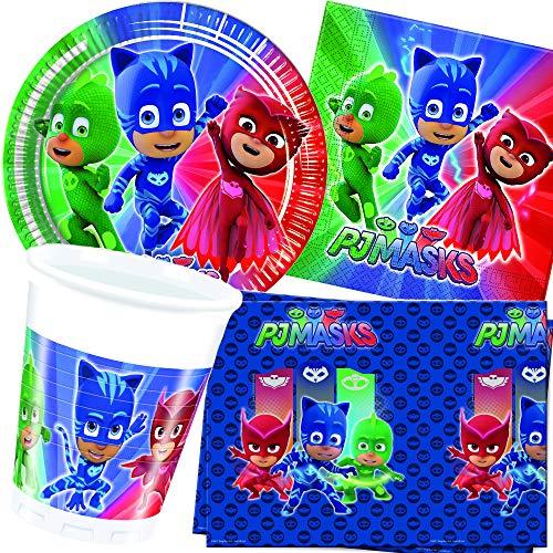 Procos/Carpeta 62-TLG. Party-Set * PJ Masks * für Kindergeburtstag & Mottoparty   mit Teller + Becher + Servietten + Tischdecke   Kinder Motto Pyjama Helden Catboy
