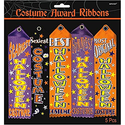 Amscan Halloween Trick Or Treat Party Assorted Costume Award Ribbon, Pack of 5