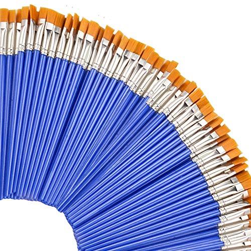 50 pinceles planos de pintura para niños/estudiantes/principiantes/adolescentes/juego de pinceles para pintura de clase artística/fiesta de pintura acrílica/acuarela, mango de plástico corto