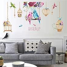 ufengke Birdcage Wall Stickers Flower Birds Wall Decals Art Decor for Bedroom Living Room