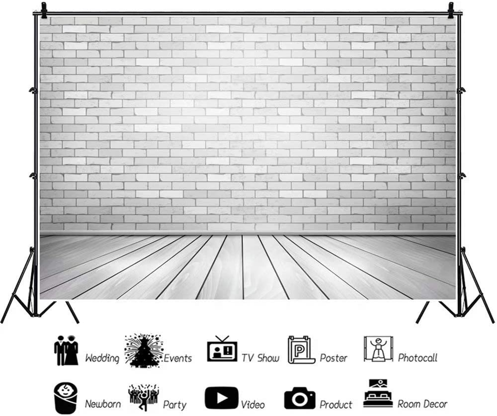 DaShan 14x10ft Brick Wall Backdrop Wooden Floor Baby Shower Newborn Wall Decor Birthday Party Photography Background Rustic Bridal Shower Graduation Wedding Home Party Lover Couple Photo Video Props