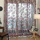 Chinatera Duenn Roman Fenster Gardine Fuer Wohnzimmer Schlafzimmer (Lila, 100 * 250CM)
