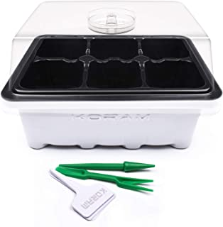 KORAM 10-Pack Seed Starter Trays 60 Large Cells Seedling Tray Plant Grow Kit with Lid and Base for Seed Germination (6-Cell Per Tray)