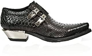 Newrock 7934-S2 Chaussures en Cuir de Peau de Serpent en Python Gaufré Noir pour Hommes avec Boucles et Talons en Acier
