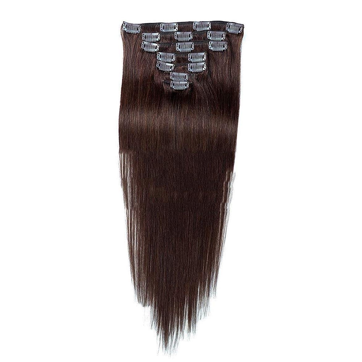 一緒に解放コークスHOHYLLYA 7ピースクリップヘアエクステンション22インチフルヘッド - 100%Remy人間の髪 - #2ダークブラウンストレート100gロールプレイングかつら女性のかつら (色 : #2 Dark Brown)