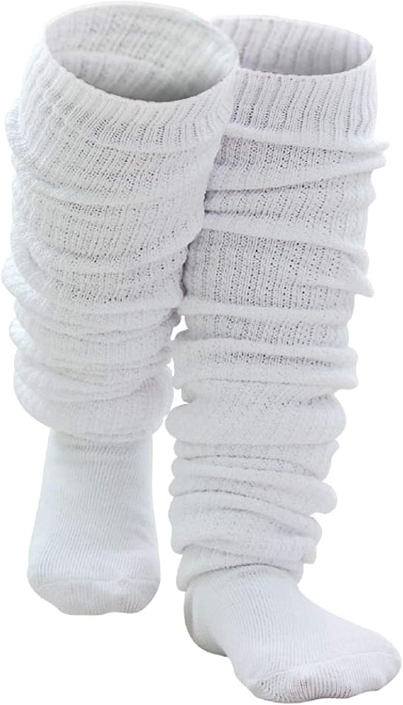 AWOCAN Loose Socks Japanese Style Student Girl's Socks White Lolita Leg Warmer Bubble Slouch Cotton 15.7-70.9 inches