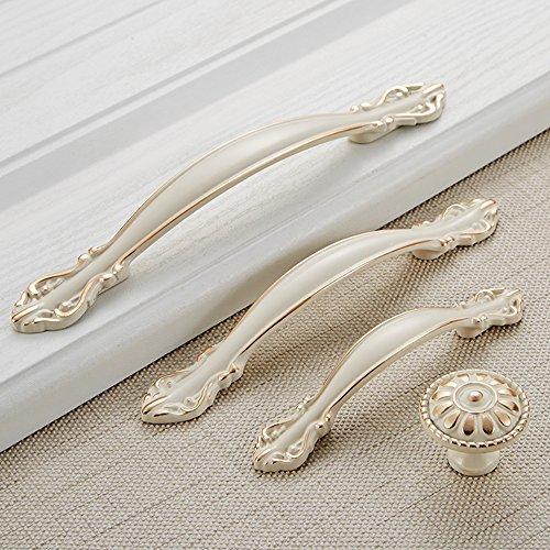 Angela-homestyle™ Vintage Möbelgriffe Antikbeschlag Schubladengriff Möbelgriff Schrankgriff Zierteile Mit Schrauben (Elfenbein Weiß, Einlochmontage)