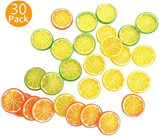 SOLUTer Realistic Fake Artificial Lemon Limes Slice Simulation Fruit Decoration, Mini Small Simulation Lemon Slices Plastic Fake Artificial Fruit Model Party Kitchen Wedding Decoration (30 Pack)