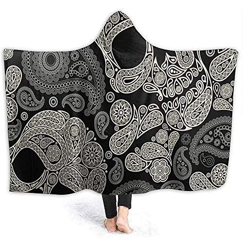 Simone-Shop Schedel grijze jas met capuchon, zachte flanellen deken met capuchon, draagbare deken met capuchon