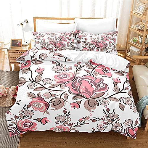 Funda Nordica Cama 150 Flor Rosa Blanca Ropa de Cama 240x260 cm con Cremallera, Funda Nórdica Verano Microfibra Suave, con 2 Fundas de Almohada 50x75cm