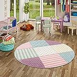 Maui Kids- Alfombra redonda para niños con cuadrados y estrellas, colores rosa pastel - 3 tamaños disponibles, multicolor, 160 cm Rond