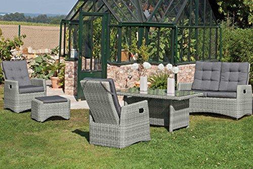 SunnySmart Loungegruppe Roseville von Sunny SMART, Poly-Rattan Rustic-Vintage, Lounge für 4 Personen, Garten Sitzgruppe inkl. Polster Kissen