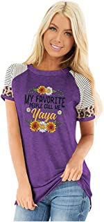 Women Plus Size T-shirt Tops, Ladies Sunflower Printed O-neck Short Sleeve Pullover Top