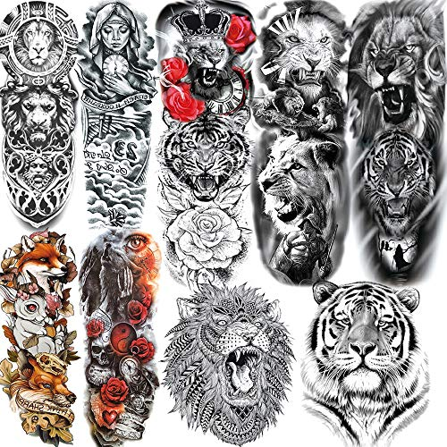 9 Sheets ALISA Cool Large Tiger Face Full Arm Temporary Tattoo Sleeve For Women Realistic Lion King Full Sleeve Temporary Tattoos For Men Kids Black Waterproof Fake Custom Tatoo Tribal Wolf Fox Animal