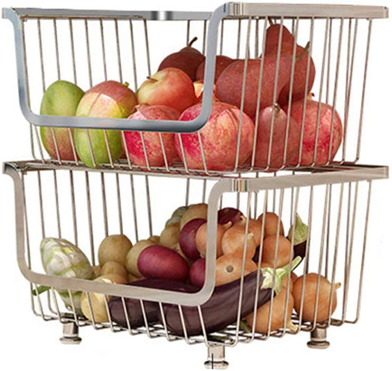 Stainless Steel Kitchen Double Layer Cart with Baskets Fruit Bin Rack Baskets Stackable Metal Storage Organizer Bin for Cabinets Pantry Easy Moving