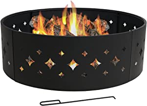 Sunnydaze Diamond Fire Pit Campfire Ring - Large Round Outdoor Heavy Duty Metal Wood Burning Firepit with Fire Poker - 36 Inch