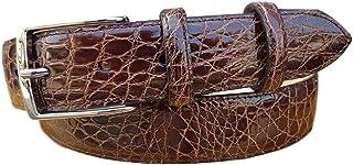 ESPERANTO Cintura uomo in vero fianco di coccodrillo, fodera vera pelle cuoio nabuk fibbia nichel free - altezza 4 cm (Mar...