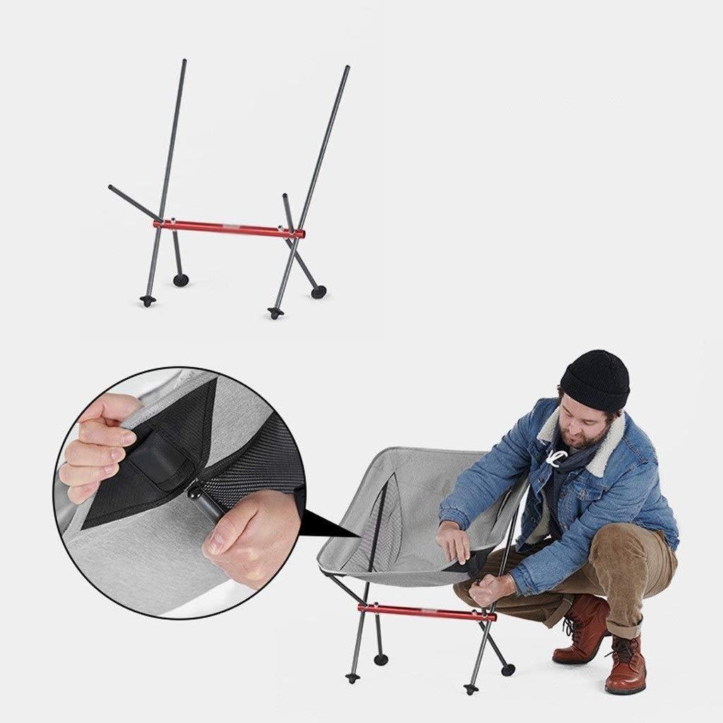 Chaise Longues Portable Camping Pliant Chaise Ultra-léger La Pêche Plage Petit Tabouret Jardin Chaise De Repos, 2 Couleurs (Color : Black) Gray
