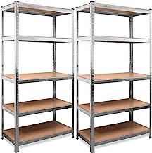 Deuba Lot de 2 étagères pour charges lourdes 170 x 75 x 30 cm 350 kg 5 panneaux MDF