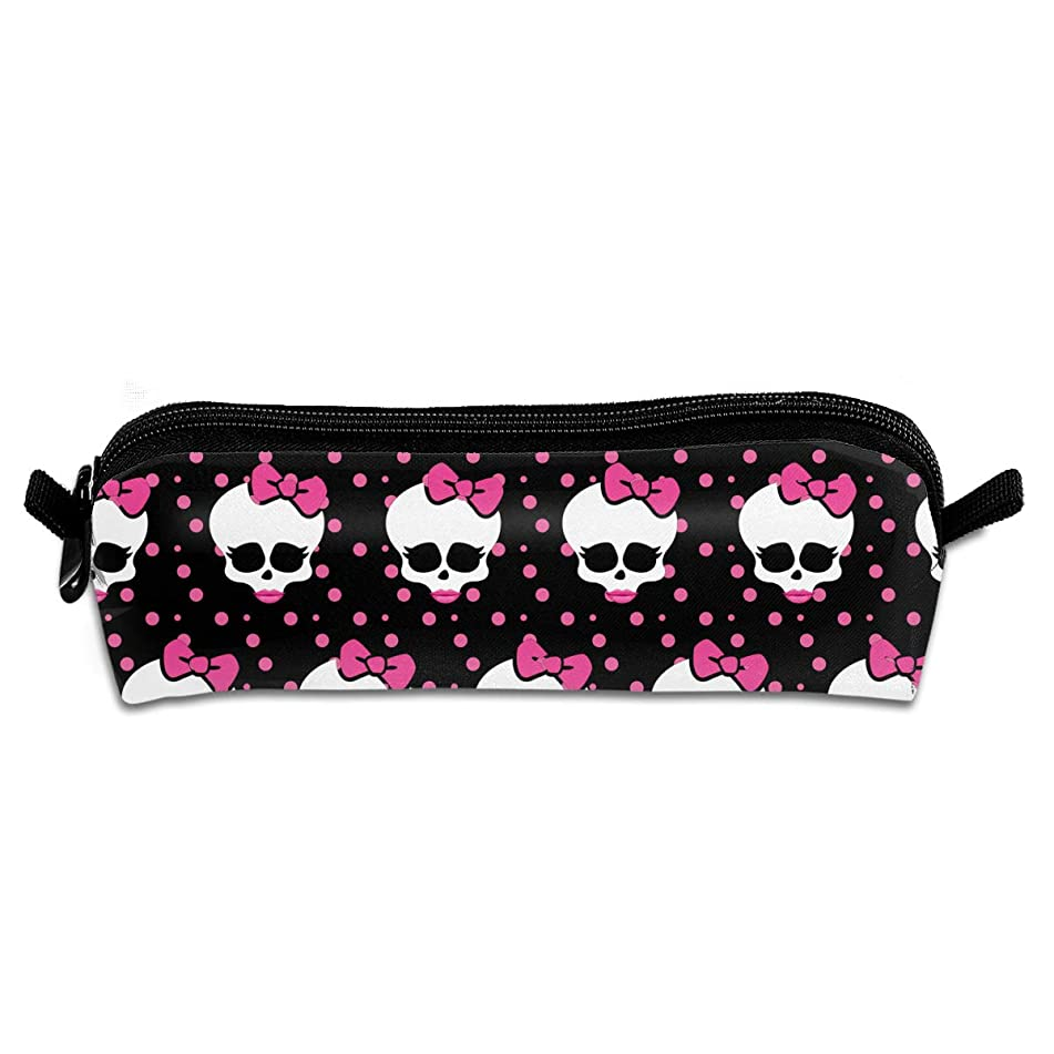 Wodehous Adonis Pink Skull Bow Red Lip Canvas Cosmetic Pen Pencil Stationery Pouch Bag Case