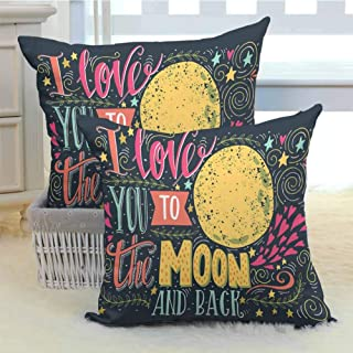 DuckBaby I Love You Living Room Sofa Hug Pillowcase Valentines Day Featured Festival in Love Wish Feelings Image with Hidden Zipper W14 x L14 inch x 2 Dark Petrol Blue Yellow Pink