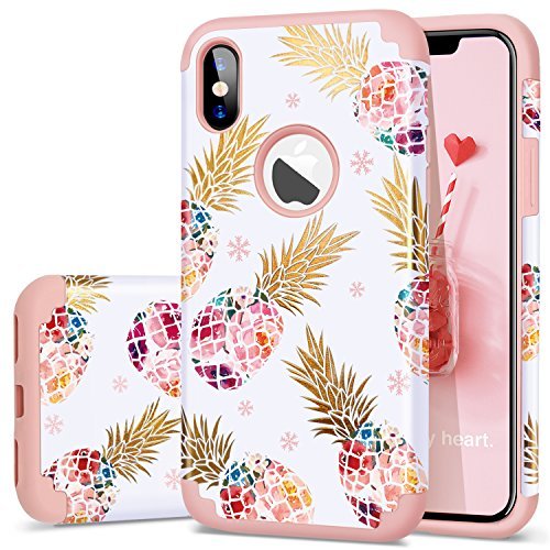 """Fingic Pineapple Case Compatible with iPhone X/10 Case,iPhone Xs (2018) Cover, Perfect Slim Fit Ultra Thin Protection Series Cute Shell Phone Case for Apple iPhone X/XS 5.8"""",Rose Gold"""
