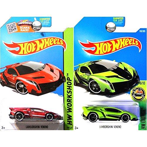 Hot Wheels Lamborghini Veneno in Red and Green SET OF 2