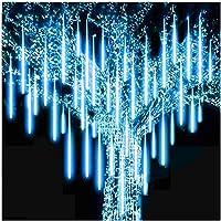 キャンデイ(candy88)LEDイルミネーションライト フォールライト スノーフォールライト 30cmx10本/50cmx10本 流れる 流星 つらら スノードロップライト ストリングライト クリスマス 飾り 防水 屋外対応 ツリー用 新年 (ホワイト, 30CM×10本)