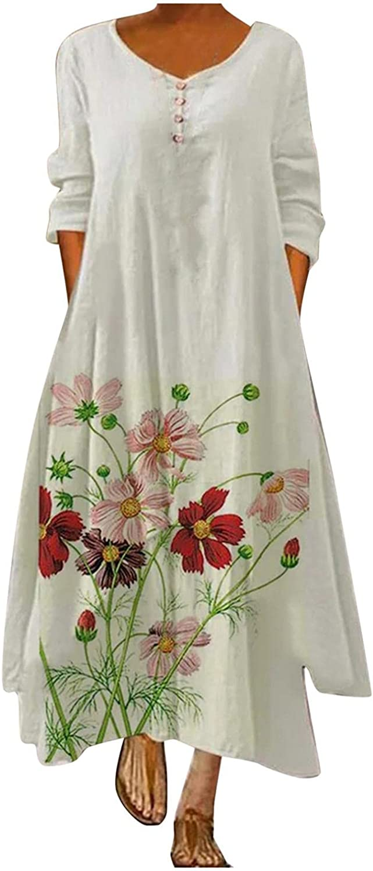 Oiumov Oversized Dress for Women,Womens Dresses Solid Long Sleeve Loose Long Maxi Dress Boho Summer Caftan Beach Dress