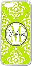 iPhone 5C Case, ArtsyCase Lime Green Grey Damask Monogram Personalized Name Phone Case for iPhone 5C (White)