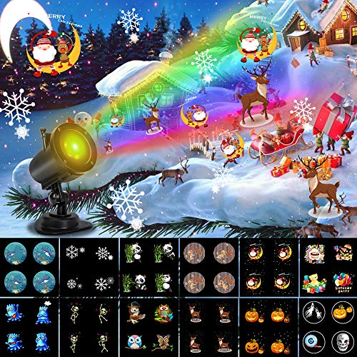 Christmas Projector Lights Outdoor, Ocean Wave LED Holiday Lights Projector Dynamically Changing Colorful Landscape Lights for Christmas Waterproof Outdoor Indoor Xmas Party Yard Garden Decorations
