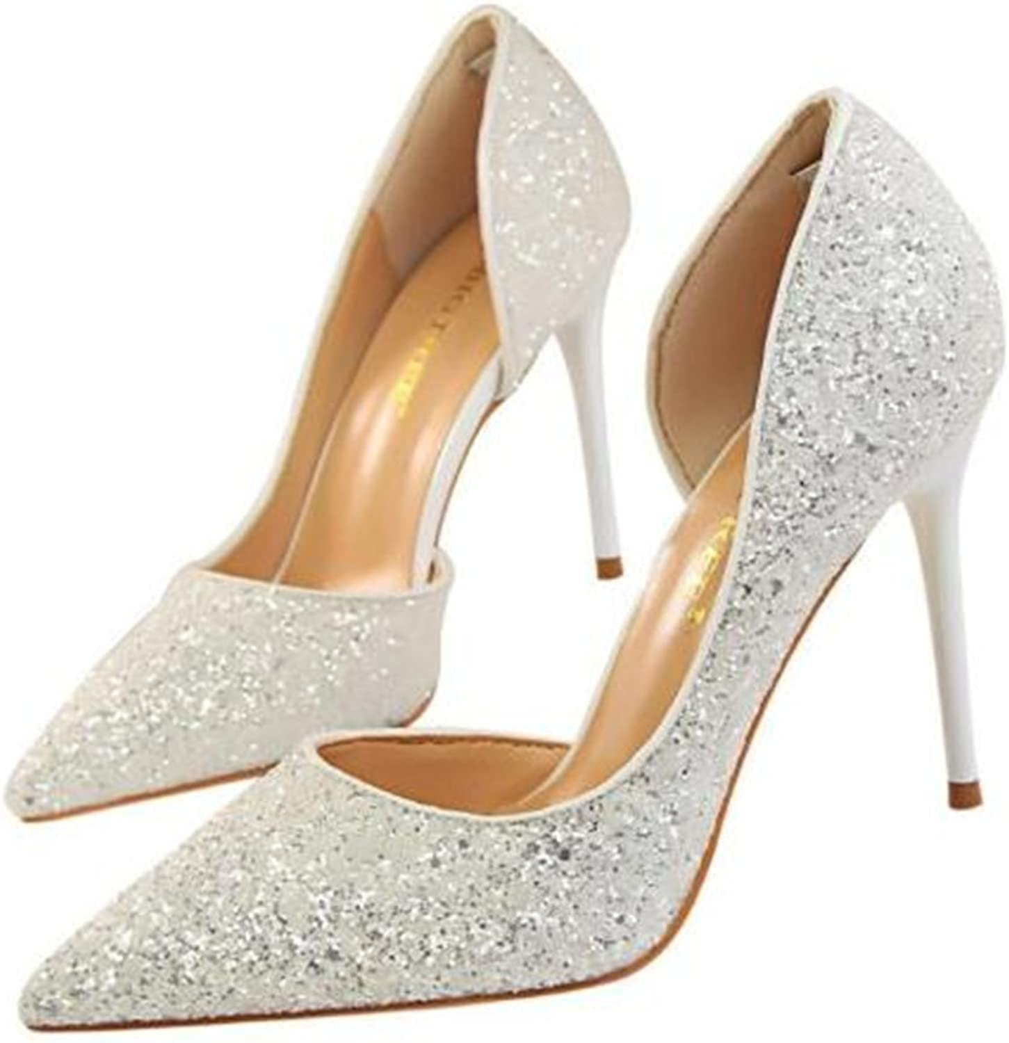 MIKA HOM Stiletto Pumps, Sexy Pointy Toe Stiletto Heels Slip on Wedding shoes Dress Party Heeled Pumps