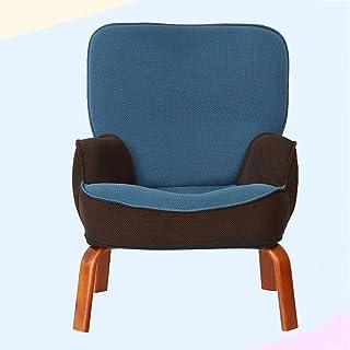 ソファ?チェア 子供用ソファーチェアソリッドウッド製チェア布製ソファーチェア子供部屋用家具怠惰な椅子マルチカラー選択 (Color : Blue, Size : 22.4*17.7*27.9in)