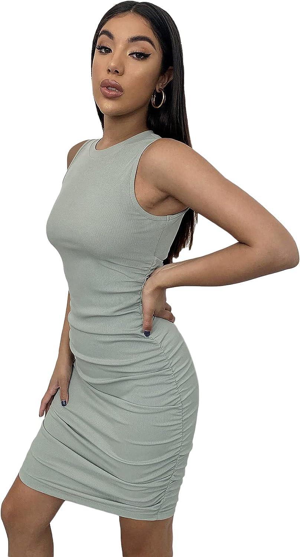 Floerns Women's Ruched Stretchy Crew Neck Sleeveless Rib Knit Tank Bodycon Pencil Mini Dress