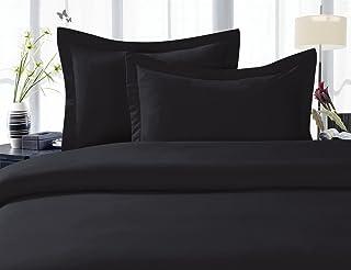Elegance Linen Wrinkle-Free- 1500 Thread Count Full/Queen Size Egyptian Quality 3pcs Duvet Cover Set, Black