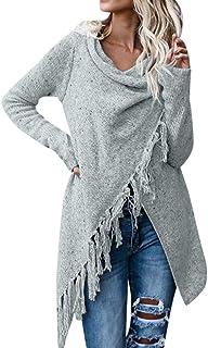 Mujeres Jersey Cardigan Mujer Invierno Suéter Poncho de Punto con Frente Abierto Borla Abrigos Jerseys Caliente Grueso Cha...