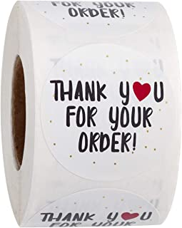 WRAPAHOLIC Thank You for Your Order Stickers - Heart Thanks for Shopping Small Shop Local Handmade - 2 x 2 Inch 500 Total ...