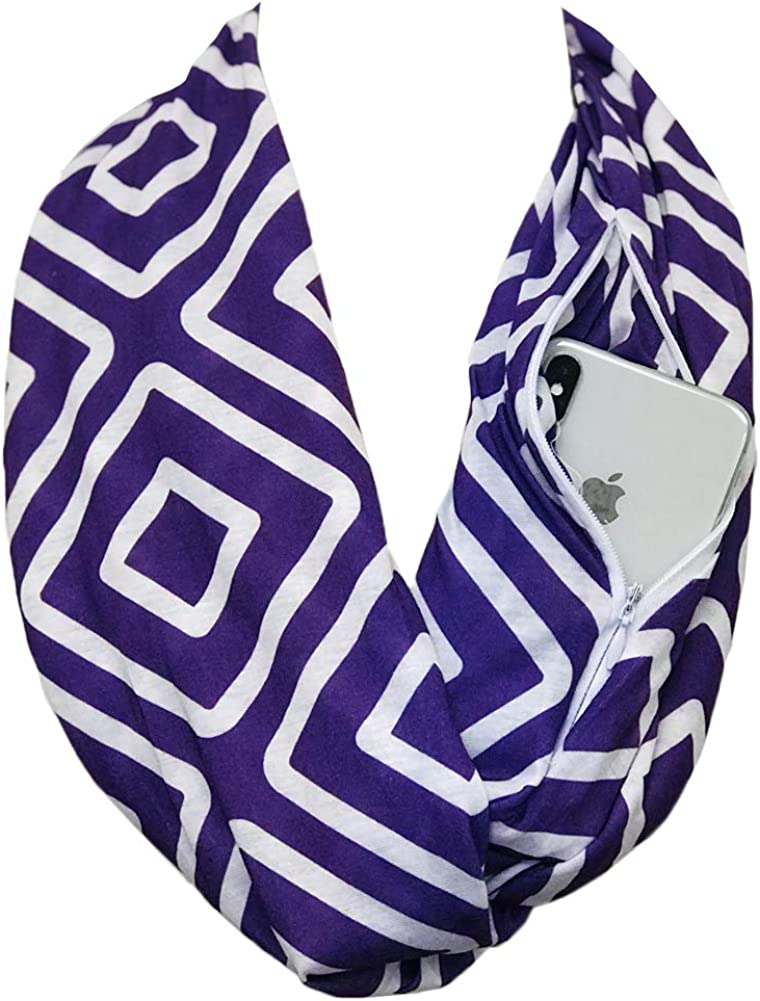 Shop Pop Fashion - Women's Infinity Scarf with Zipper Pocket, Geometric Pattern