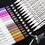 Rotuladores Metálicos,SaiXuan Marker Pen Rotuladores Metalizados 20 Color Marcador Pens Bolígrafos de pintura Conjunto de marcadores Para Tarjetas Negras,DIY Álbum,con Efecto Metálico
