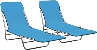 Tidyard Folding Sun Loungers 2 pcs Outdoor Folding Chaise Lounge Sunbed Sun Recliner Chair Camping Beds Steel and Fabric B...