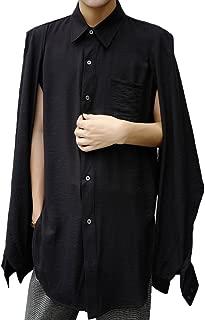 MOKEWEN Men's Poncho Layered Sleeve Two Way Button Shirt